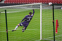 3rd October 2020; Riverside Stadium, Middlesbrough, Cleveland, England; English Football League Championship Football, Middlesbrough versus Barnsley; Marcus Bettinelli of Middlesbrough FC dives high to the corner to make the save