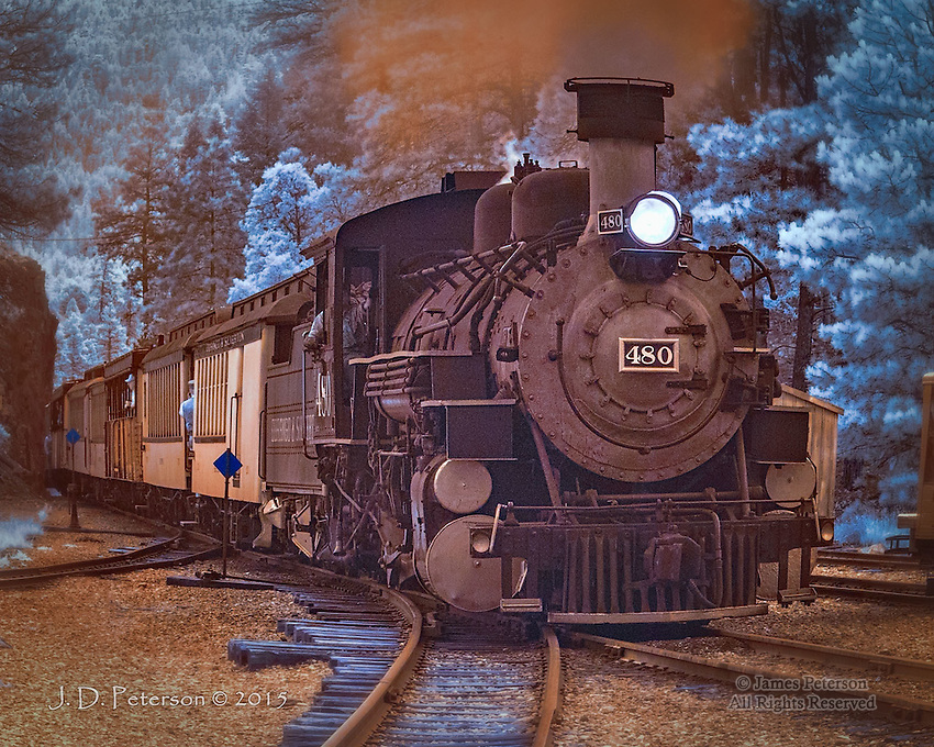 Engine 480 at Rockwood Station, Colorado (Infrared)