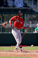 Boston Red Sox Marwin Gonzalez (12) bats during a Major League Spring Training game against the Atlanta Braves on March 7, 2021 at CoolToday Park in North Port, Florida.  (Mike Janes/Four Seam Images)