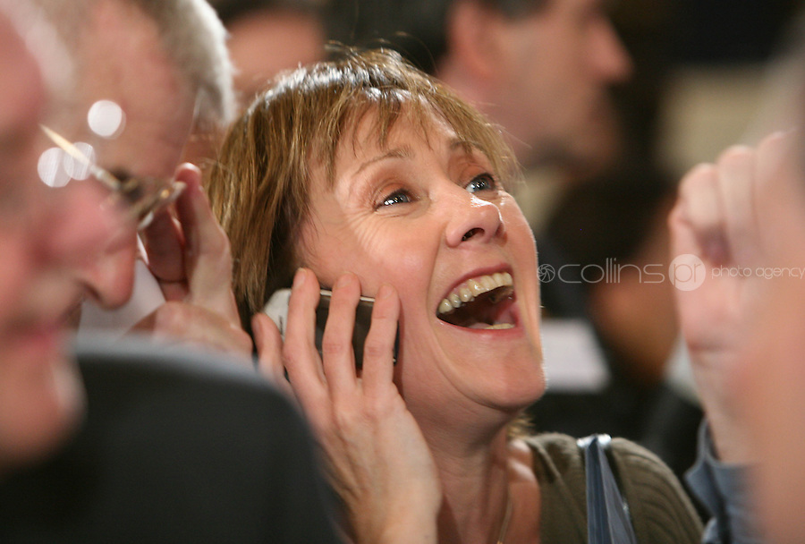 13/06/2008.Green Party member PAtricia McKenna celebrates the defeat of the Lisbon Referendum at Dublin Castle, Dublin..Photo: Gareth Chaney Collins