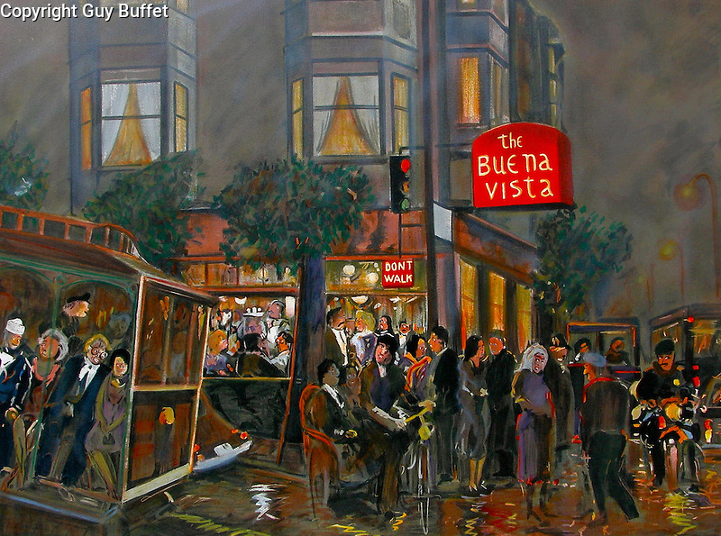 """""""Buena Vista"""" <br /> Limited Edition Lithograph Paper 23x31 <br /> Roman Numerals Available Only $1,800 <br /> With Optional Original Watercolor Remarque $2,400 <br /> Famous San Francisco Landmark Restaurant, where the Irish Coffee cocktail was re-invented! Located at the end of the Cable Car line at Fisherman's Wharf."""