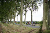 right away some riders try and go for the breakaway (eventually 21 will escape)<br /> <br /> 2014 Tour de France<br /> stage16: Carcassonne - Bagnères-de-Luchon (237km)