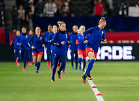 CARSON, CA - FEBRUARY 7: Becky Sauerbrunn #4 of the United States runs onto the field during a game between Mexico and USWNT at Dignity Health Sports Park on February 7, 2020 in Carson, California.
