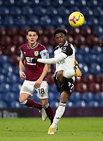 17th February 2021; Turf Moor, Burnley, Lanchashire, England; English Premier League Football, Burnley versus Fulham; Josh Maja of Fulham crosses the ball into the Burnley penalty area