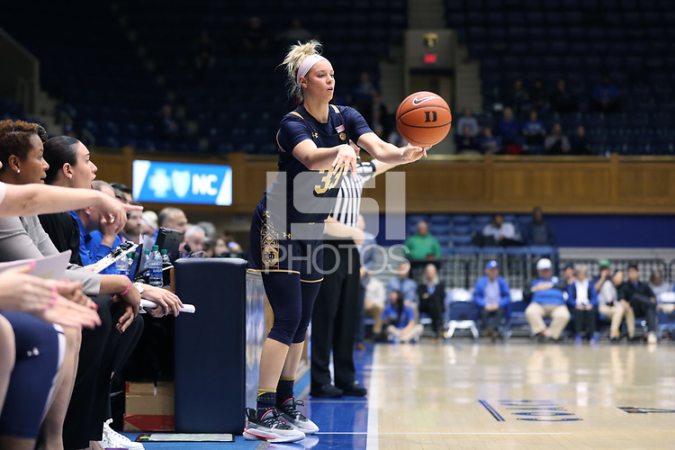 DURHAM, NC - JANUARY 16: Sam Brunelle #33 of Notre Dame University inbounds the ball during a game between Notre Dame and Duke at Cameron Indoor Stadium on January 16, 2020 in Durham, North Carolina.