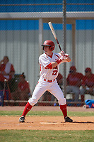 Canada Junior National Team Max Grant (27) bats during an exhibition game against the Philadelphia Phillies on March 11, 2020 at Baseball City in St. Petersburg, Florida.  (Mike Janes/Four Seam Images)