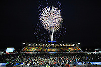 20131103 Copyright onEdition 2013©<br /> Free for editorial use image, please credit: onEdition<br /> <br /> Firework display over Allianz Park after the Premiership Rugby match between Saracens and Newcastle Falcons at Allianz Park on Sunday 3rd November 2013 (Photo by Rob Munro)<br /> <br /> For press contacts contact: Sam Feasey at brandRapport on M: +44 (0)7717 757114 E: SFeasey@brand-rapport.com<br /> <br /> If you require a higher resolution image or you have any other onEdition photographic enquiries, please contact onEdition on 0845 900 2 900 or email info@onEdition.com<br /> This image is copyright onEdition 2013©.<br /> This image has been supplied by onEdition and must be credited onEdition. The author is asserting his full Moral rights in relation to the publication of this image. Rights for onward transmission of any image or file is not granted or implied. Changing or deleting Copyright information is illegal as specified in the Copyright, Design and Patents Act 1988. If you are in any way unsure of your right to publish this image please contact onEdition on 0845 900 2 900 or email info@onEdition.com
