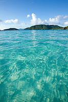 Clear CAribbean water.looking towards Whistling Cay from Cinnamon Bay.Virgin Islands National Park.St. John, U.S. Virgin Islands