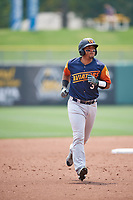 Carlos Pèrez (3) of the Las Vegas Aviators trots around the bases against the Salt Lake Bees at Smith's Ballpark on July 25, 2021 in Salt Lake City, Utah. The Aviators defeated the Bees 10-6. (Stephen Smith/Four Seam Images)