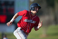 Mickey Moniak (22) of the Lakewood BlueClaws hustles towards home plate during the game against the Kannapolis Intimidators at Kannapolis Intimidators Stadium on April 9, 2017 in Kannapolis, North Carolina.  The BlueClaws defeated the Intimidators 7-1.  (Brian Westerholt/Four Seam Images)