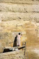 Worker restoring part of the Great Sphinx of Giza, Giza, Egypt.