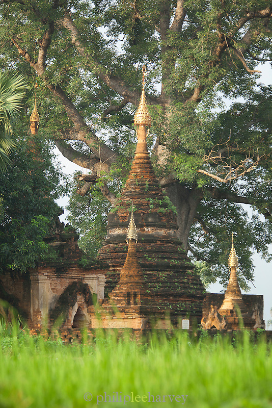 "Yadanar Seemee, the ""Jewel Lamp"" pagoda in the ancient city of Ava, Myanmar"