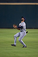 Lancaster JetHawks right fielder Willie Abreu (13) prepares to catch a fly ball during a California League game against the Inland Empire 66ers at San Manuel Stadium on May 18, 2018 in San Bernardino, California. Lancaster defeated Inland Empire 5-3. (Zachary Lucy/Four Seam Images)