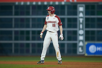 Heston Kjerstad (18) of the Arkansas Razorbacks takes his lead off of second base against the Baylor Bears in game nine of the 2020 Shriners Hospitals for Children College Classic at Minute Maid Park on March 1, 2020 in Houston, Texas. The Bears defeated the Razorbacks 3-2. (Brian Westerholt/Four Seam Images)
