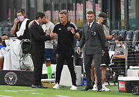 12th May 2021; Fort Lauderdale, Miami, USA;  David Beckham right with Head coach Phil Neville and David Gardner  prior to the CF Montreal versus Inter Miami CF match on May 12, 2021 at DRV PNK Stadium.
