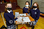 Students of the Presentation Secondary school, Castleisland, Clodagh O'Sullivan, Mairead Walsh and Denise Brown with their finger printing project for Forensic Science at the school on Thursday.