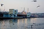Galata Bridge, Golden Horn, Sultanahmet,  Istanbul, Turkey, Yeni Camii Mosque.