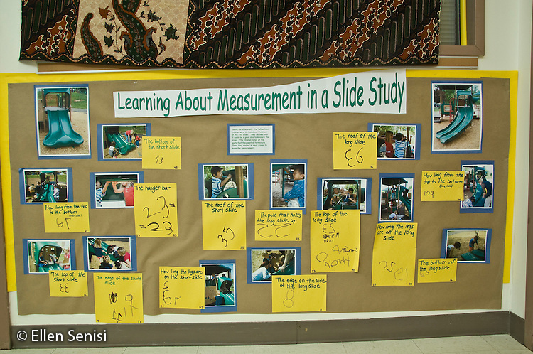 MR / College Park, Maryland.Center for Young Children, laboratory school within the College of Education at the University of Maryland. Full day developmental program of early childhood education for children of faculty, staff, and students at the university..Bulletin board display utilizing digital photographs, teacher's words, and student's written numbers for a class unit of study called Learning About Measurement in a Slide Study. This school uses the Study Approach to early childhood education where, with some teacher guidance, students select topics they will study in depth across a range of curriculum areas. This image is one of a series illustrating the Study Approach..MR: AH-gPcyc.© Ellen B. Senisi