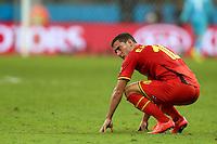 Eden Hazard of Belgium shows a look of dejection