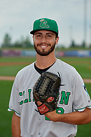 Clinton LumberKings pitcher Nathan Alexander (28) poses for a photo before a Midwest League game against the Great Lakes Loons on July 19, 2019 at Dow Diamond in Midland, Michigan.  Clinton defeated Great Lakes 3-2.  (Mike Janes/Four Seam Images)