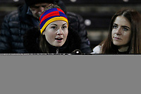 A fan pre kick off during the Greene King IPA Championship match between London Scottish Football Club and Nottingham Rugby at Richmond Athletic Ground, Richmond, United Kingdom on 7 February 2020. Photo by Carlton Myrie.