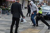 Hundreds of local people including anti fascists and footbal hooligans occupy Southampton town centre to prevent a protest by the facsist 'South Coast Resistance' group. There were scuffles with police but no arrests. 2-7-16