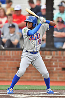 Kingsport Mets Jhoander Saez (10) awaits a pitch during a game against the Johnson City Cardinals at TVA Credit Union Ballpark on June 28, 2019 in Johnson City, Tennessee. The Cardinals defeated the Mets 7-4. (Tony Farlow/Four Seam Images)