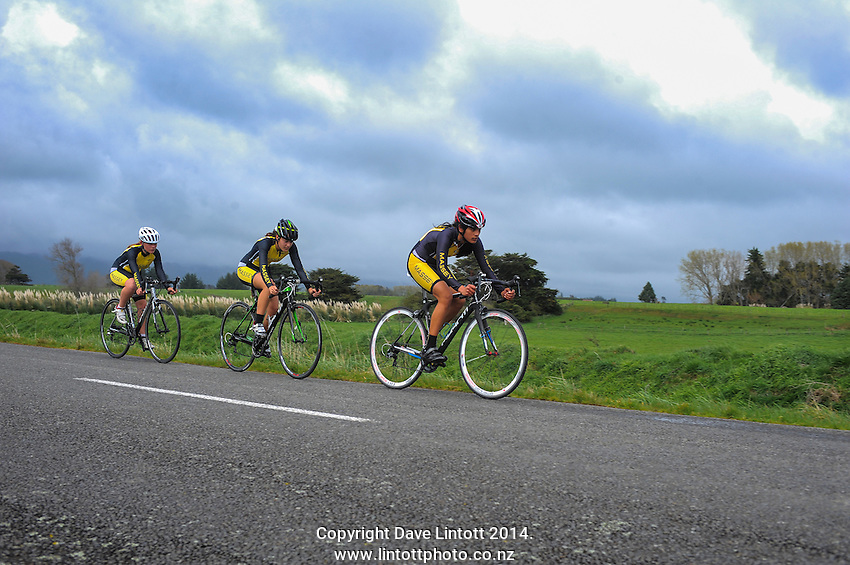Massey High School under-16 girls in action during the NZ Schools Road Cycling championship day one team time trials at Koputaroa Road, Levin, New Zealand on Saturday, 27 September 2014. Photo: Dave Lintott / lintottphoto.co.nz