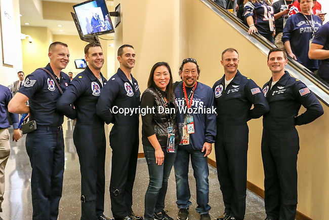 The Thunderbirds pilots pose with fans at Super Bowl LI at the NRG Stadium in Houston, Texas.