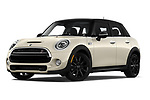 Stock pictures of low aggressive front three quarter view of a 2019 Mini Hardtop 4 Door Cooper S Signature 5 Door Hatchback