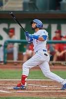 Ronny Brito (5) of the Ogden Raptors bats against the Orem Owlz at Lindquist Field on August 4, 2018 in Ogden, Utah. The Owlz defeated the Raptors 15-12. (Stephen Smith/Four Seam Images)