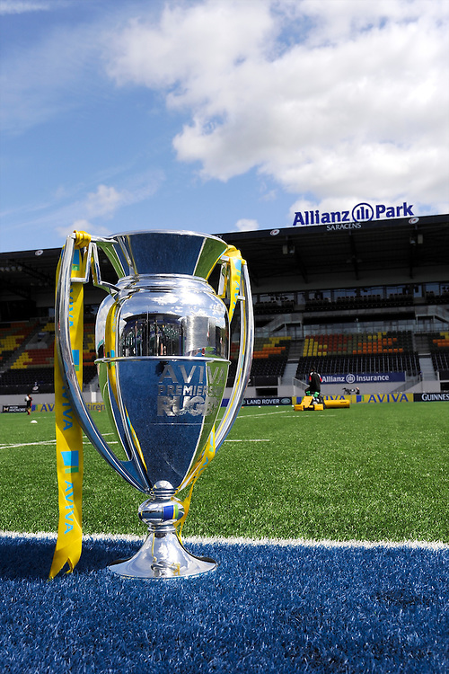 20130512 Copyright onEdition 2013©.Free for editorial use image, please credit: onEdition..The Premiership Trophy on display before the semi final between Saracens and Northampton Saints at Allianz Park on Sunday 12th May 2013 (Photo by Rob Munro)..For press contacts contact: Sam Feasey at brandRapport on M: +44 (0)7717 757114 E: SFeasey@brand-rapport.com..If you require a higher resolution image or you have any other onEdition photographic enquiries, please contact onEdition on 0845 900 2 900 or email info@onEdition.com.This image is copyright onEdition 2013©..This image has been supplied by onEdition and must be credited onEdition. The author is asserting his full Moral rights in relation to the publication of this image. Rights for onward transmission of any image or file is not granted or implied. Changing or deleting Copyright information is illegal as specified in the Copyright, Design and Patents Act 1988. If you are in any way unsure of your right to publish this image please contact onEdition on 0845 900 2 900 or email info@onEdition.com