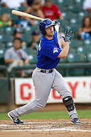 Las Vegas 51s designated hitter Mark Sobolewski #4 swings during the Pacific Coast League baseball game against the Round Rock Express on August 7th, 2012 at the Dell Diamond in Round Rock, Texas. The Express defeated the 51s 5-4. (Andrew Woolley/Four Seam Images).