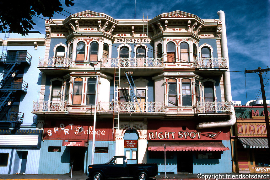 """San Diego: Grand (Horton) Hotel, 332 F Street. Comstock and Trotsche, 1888. """"Baroque Revival"""" (Photo '81)"""