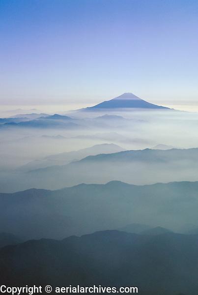 aerial photograph of Mount Fuji, Fujiyama, Japan