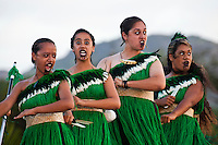 Young women giving a powerful Maori performance at the 2011 Kauai Polynesian Festival