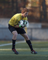Virginia Tech goalkeeper Kyle Renfro (1) catches a shot on net.Boston College (maroon) defeated Virginia Tech (Virginia Polytechnic Institute and State University) (white), 3-1, at Newton Campus Field, on November 3, 2013.