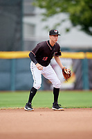 Erie SeaWolves shortstop A.J. Simcox (18) during a game against the New Hampshire Fisher Cats on June 20, 2018 at UPMC Park in Erie, Pennsylvania.  New Hampshire defeated Erie 10-9.  (Mike Janes/Four Seam Images)