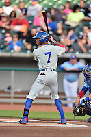 Chattanooga Lookouts center fielder Byron Buxton (7) awaits a pitch during a game against the Tennessee Smokies on April 25, 2015 in Kodak, Tennessee. The Smokies defeated the Lookouts 16-10. (Tony Farlow/Four Seam Images)