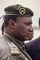 Daouda Wanke, President of Niger, April-December 1999, Niamey, Niger.  He has traditional Hausa facial scarification marks.