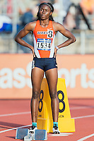 Florence Uwakwe of UTEP at the starting block to competes in 400 meter prelims during West Preliminary Track and Field Championships, Friday, May 29, 2015 in Austin, Tex. (Mo Khursheed/TFV Media via AP Images)