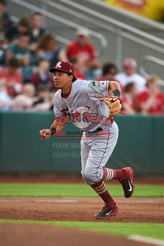 Frisco RoughRiders shortstop Edwin Garcia (11) during a game against the Springfield Cardinals  on June 4, 2015 at Hammons Field in Springfield, Missouri.  Frisco defeated Springfield 8-7.  (Mike Janes/Four Seam Images)