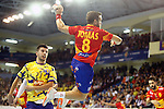 Spain's Victor Tomas (r) and Bosnia Herzegovina's Vladimir Vranjes during 2018 Men's European Championship Qualification 2 match. November 2,2016. (ALTERPHOTOS/Acero)