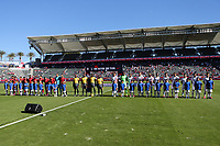 CARSON, CA - FEBRUARY 1: Costa Rica and USMNT players lineup during pre-game ceremonies during a game between Costa Rica and USMNT at Dignity Health Sports Park on February 1, 2020 in Carson, California.