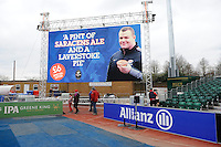 20130303 Copyright onEdition 2013©.Free for editorial use image, please credit: onEdition..Matt Stevens of Saracens with a promotional message on the large screen during the Premiership Rugby match between Saracens and London Welsh at Allianz Park on Sunday 3rd March 2013 (Photo by Rob Munro)..For press contacts contact: Sam Feasey at brandRapport on M: +44 (0)7717 757114 E: SFeasey@brand-rapport.com..If you require a higher resolution image or you have any other onEdition photographic enquiries, please contact onEdition on 0845 900 2 900 or email info@onEdition.com.This image is copyright onEdition 2013©..This image has been supplied by onEdition and must be credited onEdition. The author is asserting his full Moral rights in relation to the publication of this image. Rights for onward transmission of any image or file is not granted or implied. Changing or deleting Copyright information is illegal as specified in the Copyright, Design and Patents Act 1988. If you are in any way unsure of your right to publish this image please contact onEdition on 0845 900 2 900 or email info@onEdition.com