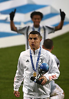 Football: Super Cup Final Juventus vs Napoli at Mapei Stadium in Reggio Emilia, on January 20,  2021.<br /> Juventus' Cristiano Ronaldo celebrates  after winning 2-0  the Italian Super Cup Final match between Juventus and Napoli at Mapei Stadium in Reggio Emilia, on January 20,  2021.<br /> UPDATE IMAGES PRESS/Isabella Bonotto