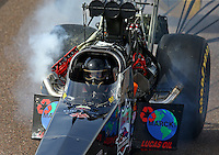 Feb 22, 2014; Chandler, AZ, USA; NHRA top fuel dragster driver Scott Palmer during qualifying for the Carquest Auto Parts Nationals at Wild Horse Motorsports Park. Mandatory Credit: Mark J. Rebilas-USA TODAY Sports