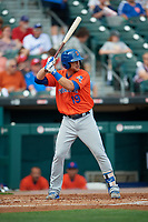 Syracuse Mets Travis Taijeron (19) bats during an International League game against the Buffalo Bisons on June 29, 2019 at Sahlen Field in Buffalo, New York.  Buffalo defeated Syracuse 9-3.  (Mike Janes/Four Seam Images)
