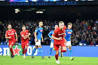 Erling Braut Haaland of FC Salzburg (R) celebrates after scoring on penalty the goal of 0-1 for his side<br /> Napoli 05-11-2019 Stadio San Paolo <br /> Football Champions League 2019/2020 Group E<br /> SSC Napoli - FC Salzburg<br /> Photo Antonietta Baldassarre / Insidefoto