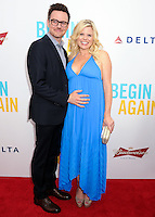 """NEW YORK CITY, NY, USA - JUNE 25: Brian Gallagher and Megan Hilty arrive at the New York Premiere Of The Weinstein Company's """"Begin Again"""" held at the SVA Theatre on June 25, 2014 in New York City, New York, United States. (Photo by Celebrity Monitor)"""